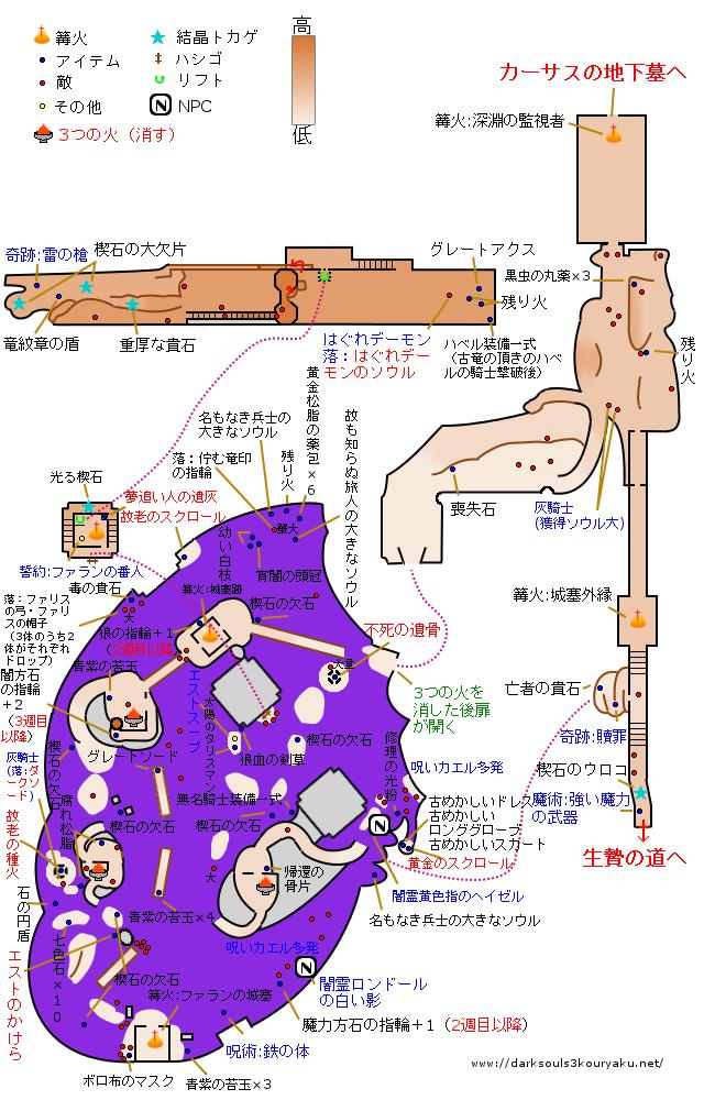 ダークソウル3 ファランの城塞 攻略マップ